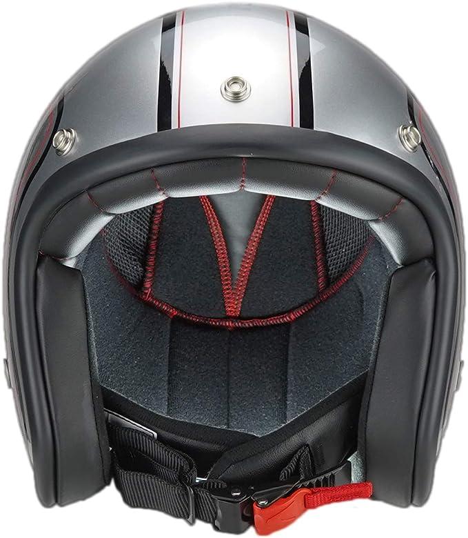 M Casco de moto jet Pendejo classic negro by iguana custom collection con corchetes para pantallas