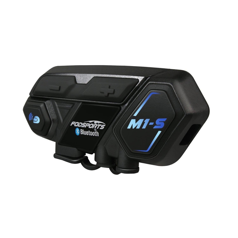 Motorcycle Bluetooth Intercom, Fodsports M1S 2000m 8 Riders Group Motorbike Helmet Communication System Headset Universal Wireless Interphone (Waterproof/Handsfree/Stereo Music/FM Radio/GPS/2 Mic)
