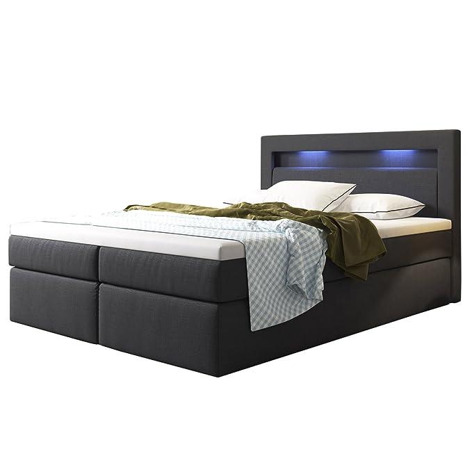 ArtLife Boxspringbett Memphis mit Bettkästen 180 x 200 cm (Dunkelgrau) – Premium-Doppelbett mit Webstoff inkl. Bonell-Federke
