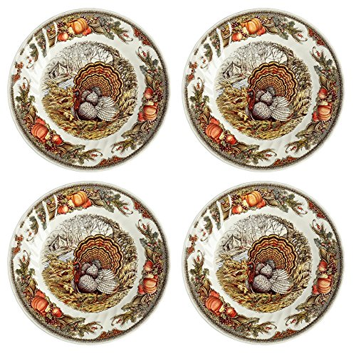 Queen's Myott Harvest Bounty Turkey Dinner Plate Charger - Set of 4 - 12.5""