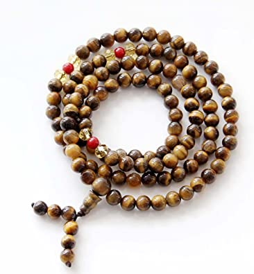 10 mm Piedras preciosas Naturales De Ojo De Tigre 108 cuentas de oración budistas Collar Mala Con Borlas