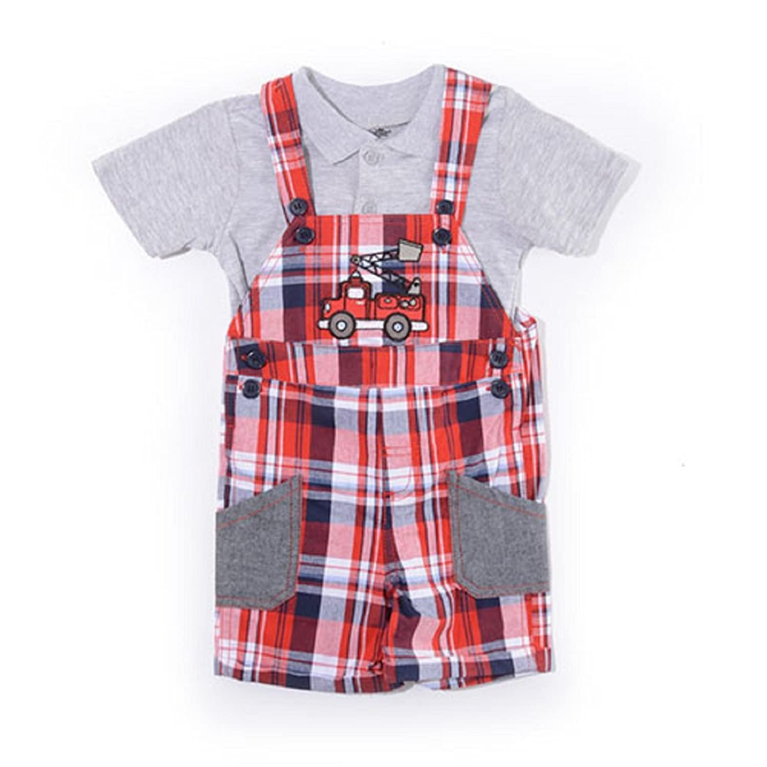 ec57e9855a266 Nannette Baby Boy Fire Truck Plaid Shortalls 2 Pc. Set 12 Months ...