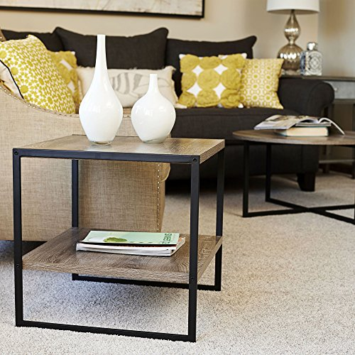 Household Essentials 8077-1 Square Wooden Side Table | End Table with Storage Shelf | Ashwood
