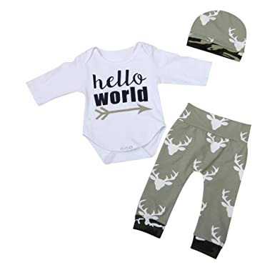 e4f153f6f Amazon.com: Clearance Newborn Toddler Baby Boys Letter Romper Jumpsuit  Camouflage Pants Outfits Set: Clothing