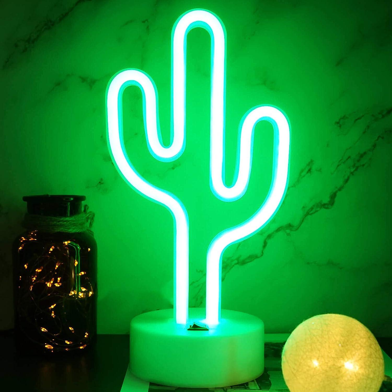 YIVIYAR Cactus Neon Light Cactus Light LED Light, USB Cable/Battery Neon Sign Cactus Decor Classroom LED Cactus Light Kids Night Light Room Lights for Bedroom Teen Girl Bedroom Decor(Cactus)