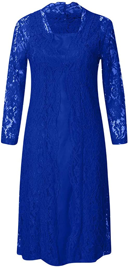 Women Stain Tank Dress Long Mother of The Bride Dress Tea Length Two Pieces with Lace Mesh Cardigan Jacket
