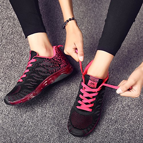 Sport Women's Running Walking Sneakers Red LIN Jogging Black Gym amp;LV Fashion Air Workout Cushion Fitness Shoes Trail Hxwqv0F5w
