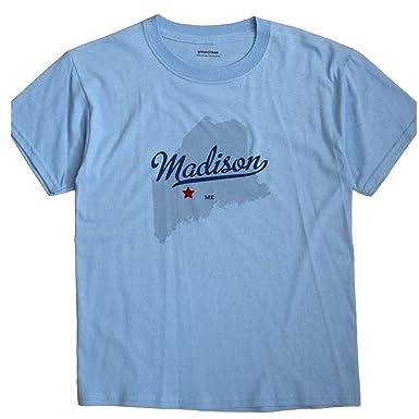 Amazon Com Greatcitees Madison Maine Me Map Unisex Souvenir T Shirt