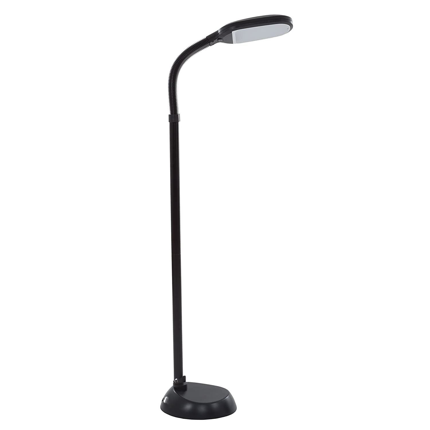 Lavish Home (72-1515) 5 Feet Sunlight Floor Lamp With Adjustable Gooseneck - Dimmer Black