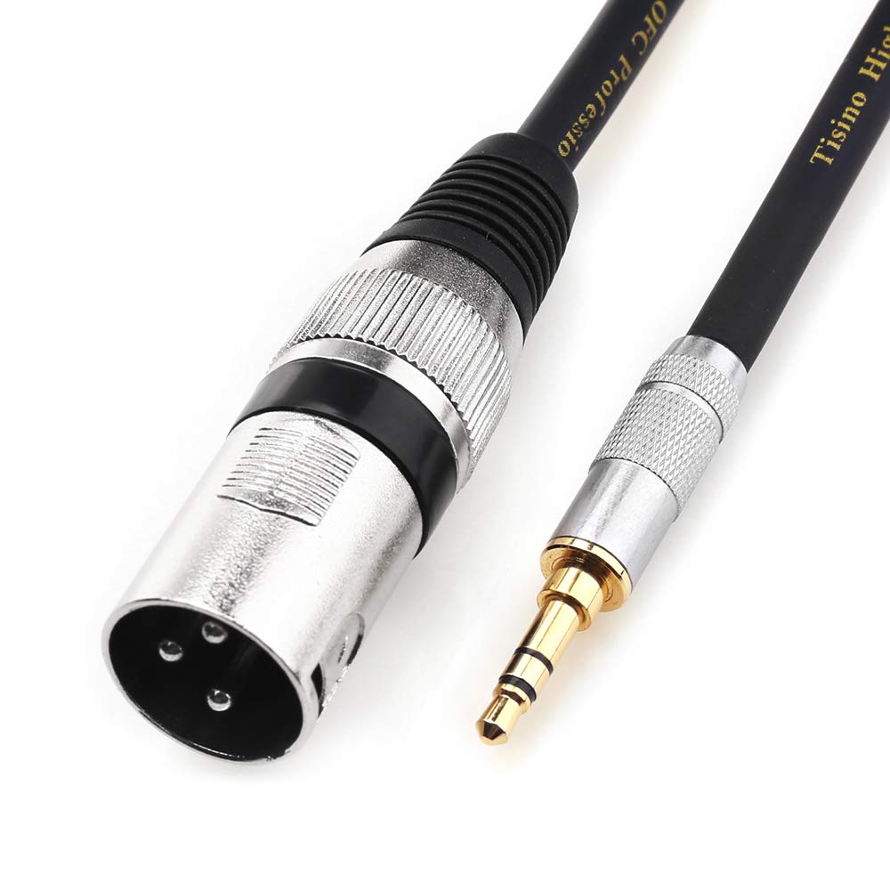 TISINO 3.5mm TRS Stereo to XLR Male Unbalanced Cable 3.5mm Mini Jack to XLR Cord -5FT DEXINUO