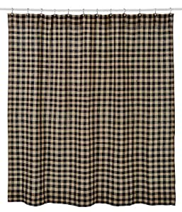 Natural Tan And Black Burlap Black Check Shower Curtain 72x72 Home Kitchen