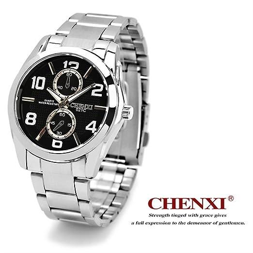 SJXIN Reloj Elegante Reloj Acero cinturón Reloj Hombre CHENXI Reloj Hombre Marca 021C Relojes de Moda (Color : 1): Amazon.es: Relojes