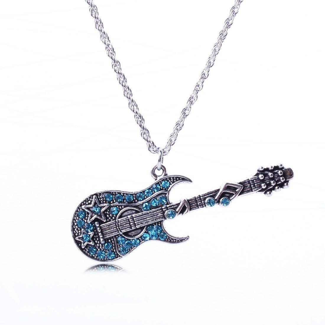 Qiyun Bling Blue Rhinestone Cute Guitar White K Link Chain Pendant Necklace Guitare Bleue K Blanc Lien Collier W005N1685