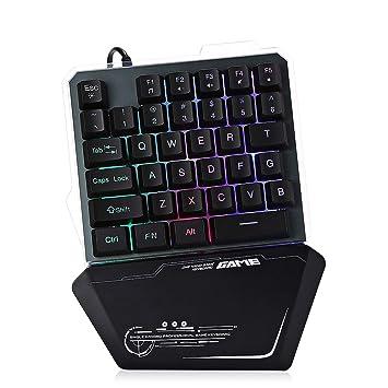 LIUYUNE,Teclado para Juegos con Cable 7Pin G40 con retroiluminación LED Teclado de una Sola Mano de 35 Teclas(Color:Negro): Amazon.es: Electrónica