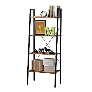 HOME BI 4-Tier Industrial Ladder Shelf Bookcase, Plant Stand Storage Rack Shelves, Vintage Furniture for Living Room, Bedroom, Office, Black