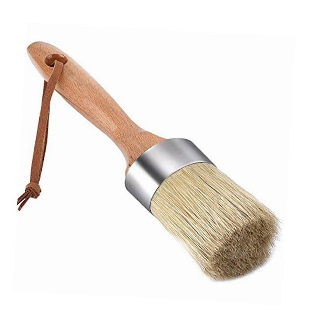 Pococina Round Chalk Paint Brush and Wax Brushes for Furniture, Home Decor (Natural Bristles) meishengfa 4336890357
