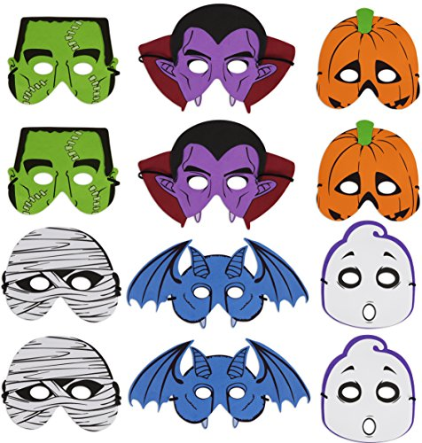 Kangaroo's Halloween Accessories - Halloween Foam Masks 12 Pack (Halloween Masks)