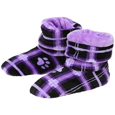 Super Cozy Paw Print Fleece Slipper Booties   Slippers