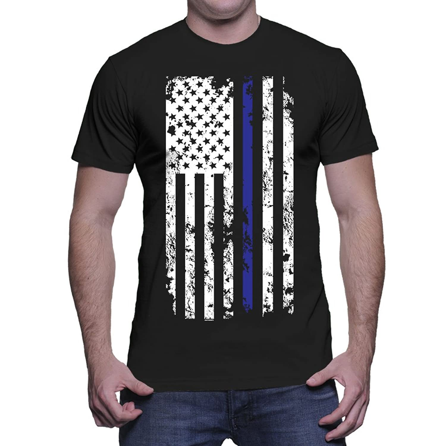 Amazon.com: Mens Thin Blue Line American Flag T-shirt: Clothing
