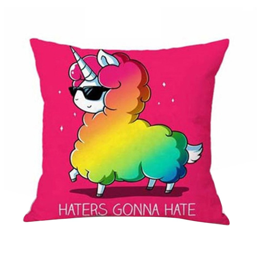 Bluelans® Cartoon Unicorn Print Cotton Linen Home Square Pillow Decor Throw Pillow Case Sofa Cushion Cover (A)