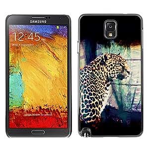 Qstar Arte & diseño plástico duro Fundas Cover Cubre Hard Case Cover para SAMSUNG Galaxy Note 3 III / N9000 / N9005 ( Leopard Spots Dots Big Cat Wild Portrait Art)