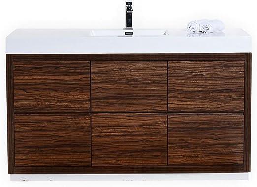 Bliss 60 Walnut Single Sink Floor Mount Modern Bathroom Vanity