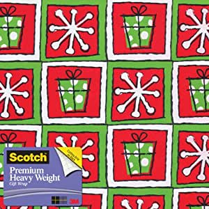 Scotch  Gift Wrap, Snowflakes and Squares Pattern, 25-Square Feet, 30-Inch x 10-Feet (AM-WPSAS-12)
