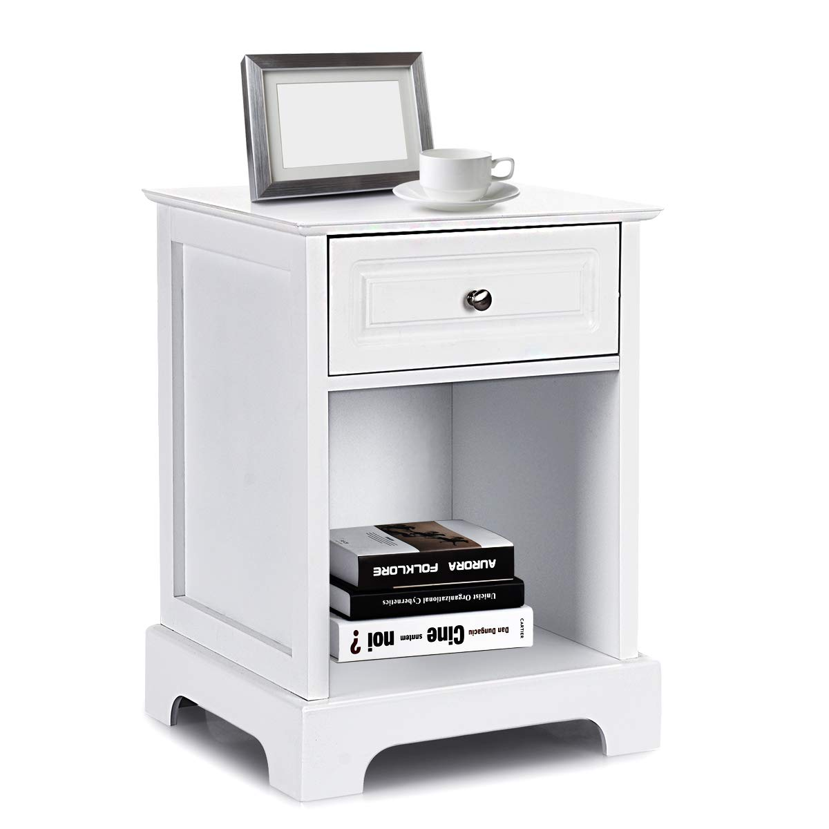 Giantex End Table W/ 1 Drawer and Open Shelf for Home Living Room Furniture Chest Sofa Side Bedside Storage Nightstand (White)