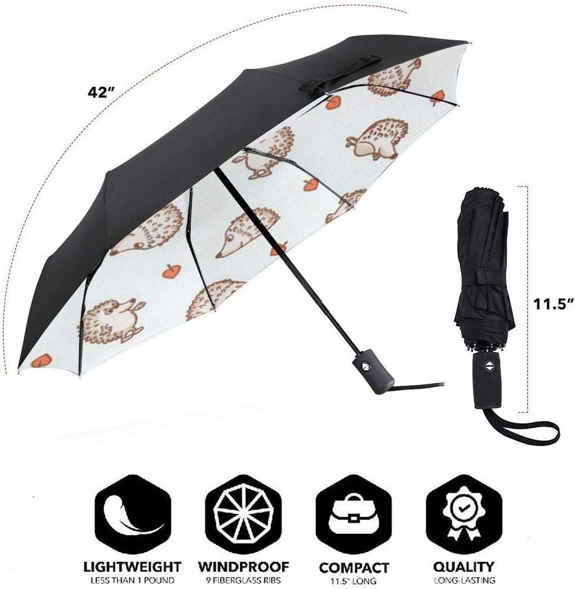 Hedgehog Leave Automatic Tri-Fold Umbrella Parasol Sun Umbrella Sunshade