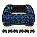 Diffingle D2 Plus Backlit QWERTY Wireless Mini Keyboard with Touchpad Mouse and Multimedia Keys, 2.4Ghz USB Rechargable Handheld Remote Control Keyboard for PC, HTPC, X-Box, Android TV Box,Smart TV