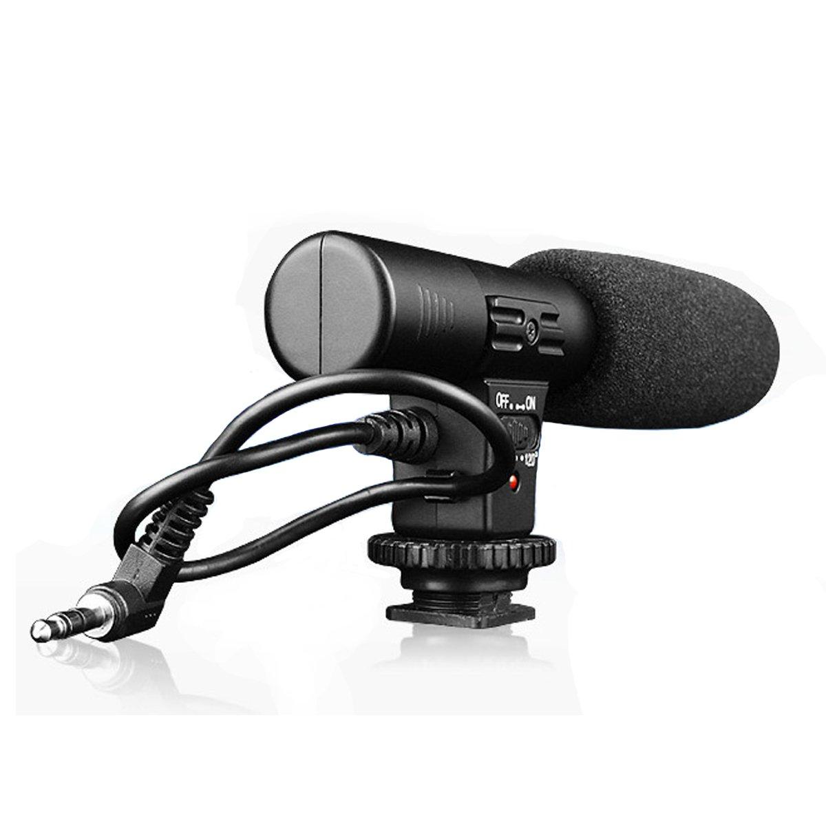 SmilePowo Camera Microphone, EIVOTOR Mic-01 3.5mm Digital Video Recording Microphone for D-SLR Camera, Stereo Shotgun Recording Microphone for Digital SLR Camera,Nikon/Canon Camera/DV Camcorder