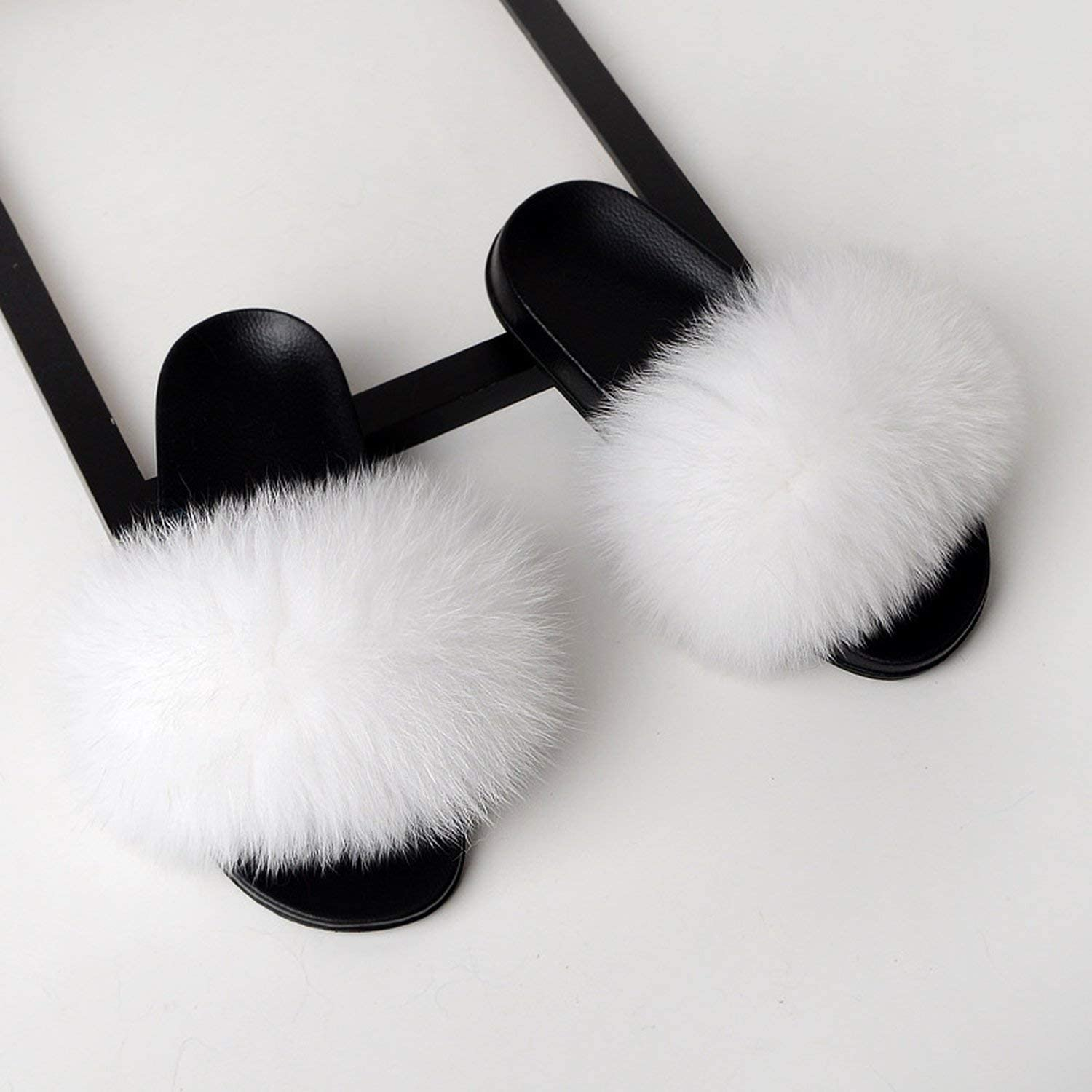 Fox Fur Slippers Slides Shoes Furry Fluffy Slipper Flip Flops Sandals Sliders Drag Sandal,Yellow,9