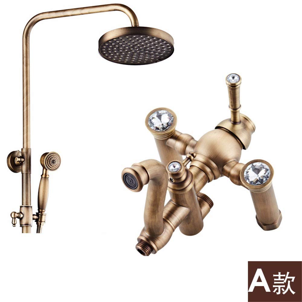 A Weacp Shower Shower Set Copper European Antique Shower Set Retro hot and Cold Simple European Shower Set, A