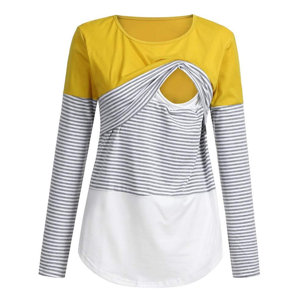 NINGSANJIN Frauen-Mamma-Schwangere Krankenpflege-Baby-Mutterschaft lang/ärmelige gestreifte Blusen-Kleidung 871