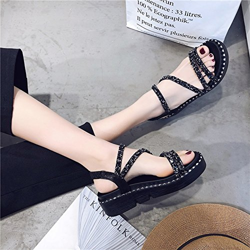 Sandals ZHIRONG Women's Summer Open Toe Thick Bottom Comfortable Rome Beach Shoes Slope Slippers 5CM (Color : Black, Size : EU39/UK6.5/CN40) Black