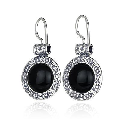 Fine Earrings Brand New Sterling Silver Onyx Drop Flower Design Earrings