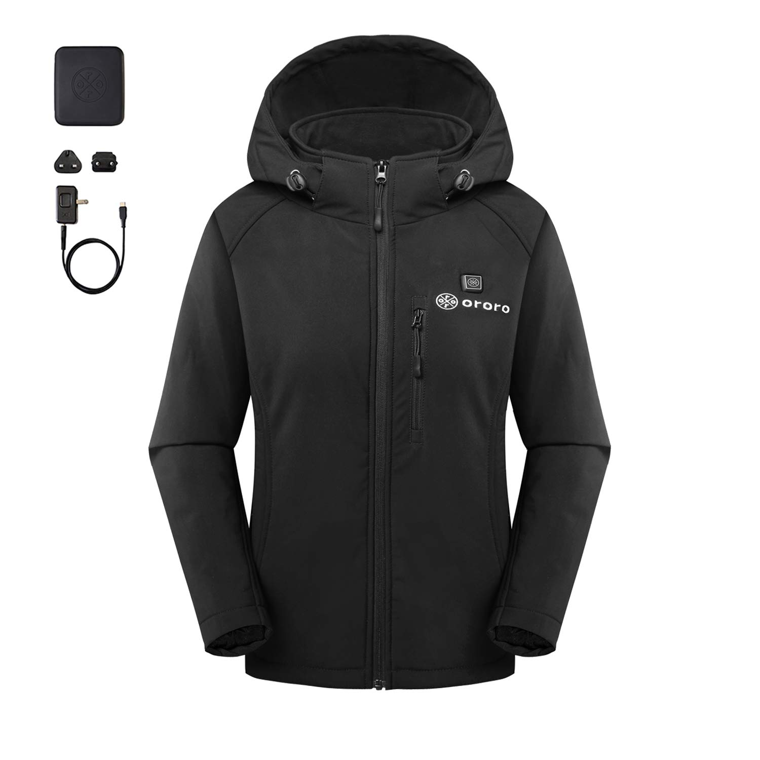 5aad3fa7285f Amazon.com  ororo Women s Slim Fit Heated Jacket with Battery Pack and  Detachable Hood  Clothing