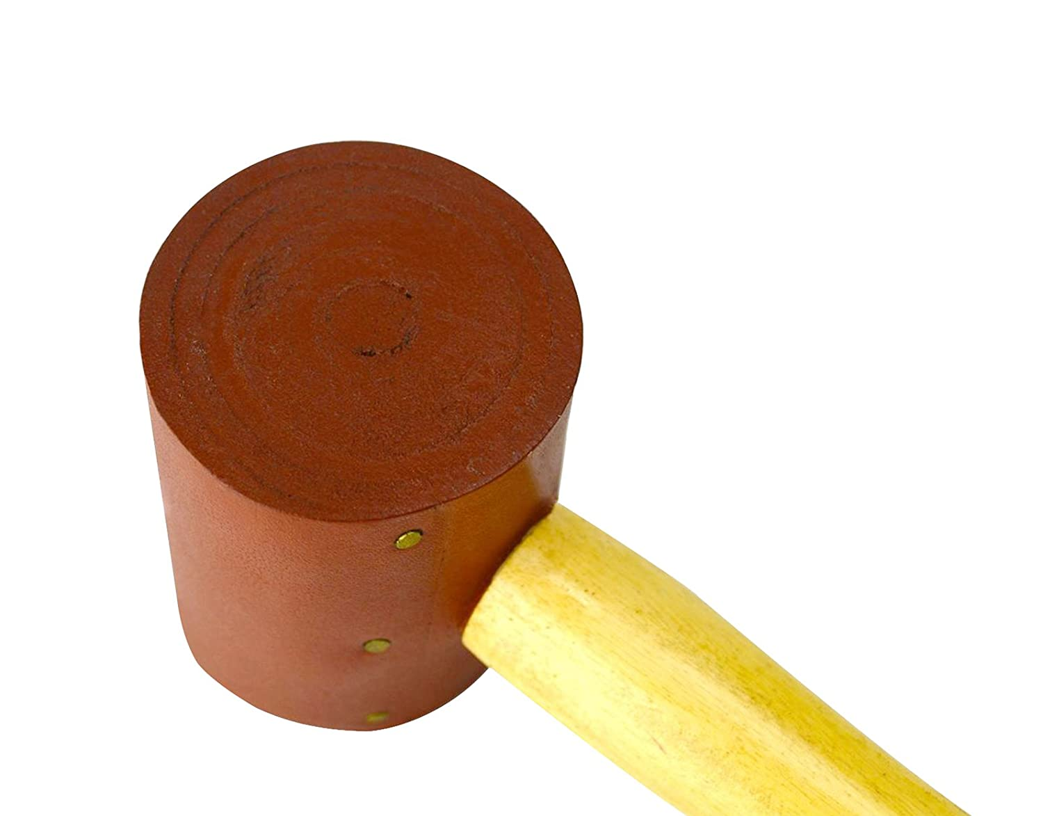 2 Rawhide Leather Mallet 6 oz Extra Soft Non-Coated Natural Rawhide Mallet Hammer Non-Marring Jewelry Making Metal Forming Stamping Leatherwork Tool PMC Supplies HAM-0032