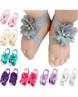 Toptim Baby Girl's Barefoot Sandals Flower for Toddlers