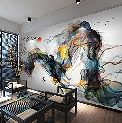 XLi-You 3D new Chinese Zen ink landscape tv background wall paper abstract smoke sofa in the living room wall painting