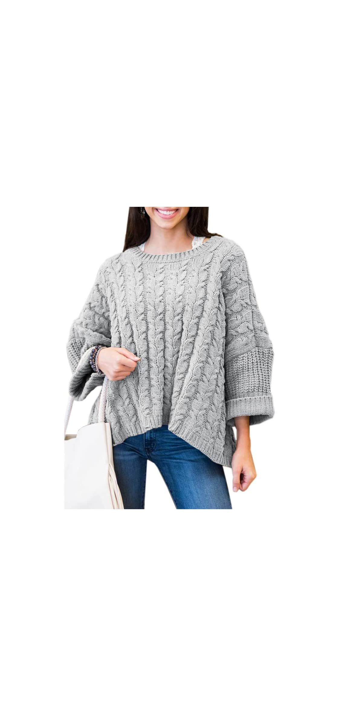 Womens Oversized Sweaters Plus Size Long Sleeve Cable Knit Tops