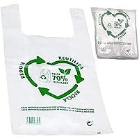 Various Bolsas de Plástico Tipo Camiseta Resistentes, Reutilizables y Recicladas Tamaño 70% Recicladas Cumple Normativa…