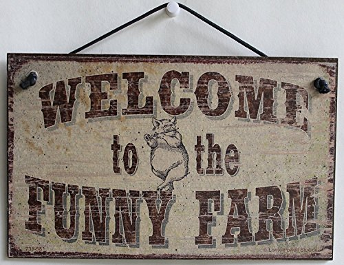 (Egbert's Treasures 5x8 Vintage Style Sign with Pig Saying, Welcome to The Funny Farm Decorative Fun Universal Household Signs from)