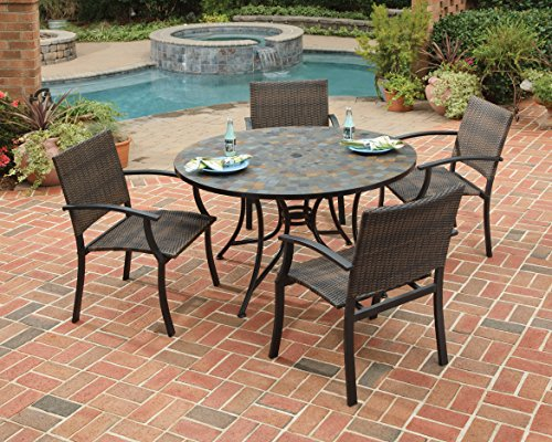 (Home Styles 5601-36812 Stone Harbor 5-Piece Dining Set with Table and Newport Arm Chairs, Black Finish, 51-Inch)