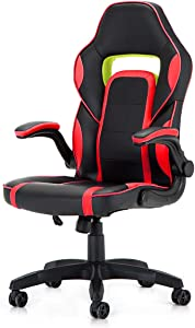Racing Style PU Leather Gaming Chair - Ergonomic Swivel Computer, Office or Gaming Chair Desk Chair HOT (RED)