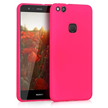 size 40 42f5d b21c6 kwmobile TPU Silicone Case for Huawei P10 Lite - Soft Flexible Shock  Absorbent Protective Phone Cover - Neon Pink