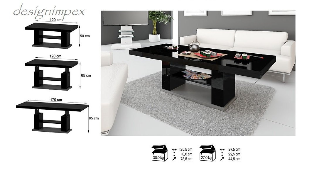 Couchtisch höhenverstellbar schwarz  Design Couchtisch HN-777 Schwarz - Grau Hochglanz höhenverstellbar ...