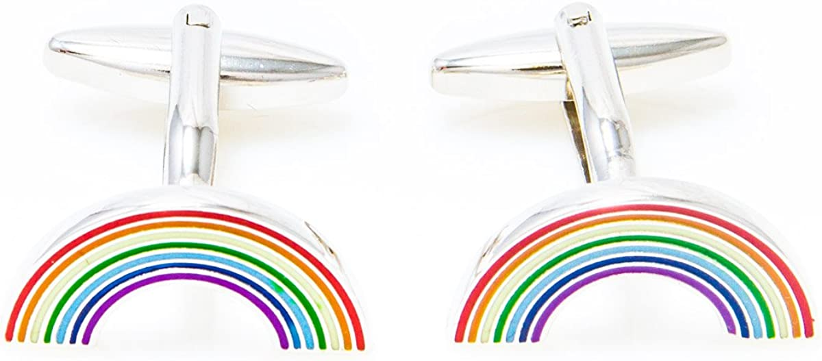 MRCUFF Rainbow Pair Cufflinks in a Presentation Gift Box & Polishing Cloth