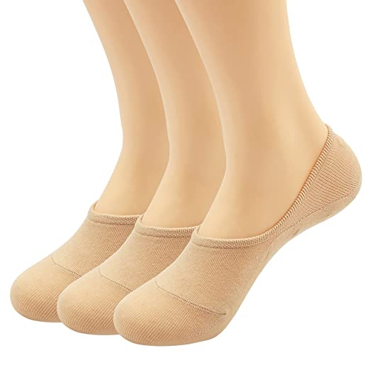 80cd3cda38c5a Women's 3 Pairs Casual Thin No Show Socks Non Slip Flat Boat Line(Beige)