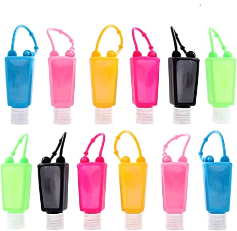 Botellas de viaje de plástico, 12 unidades, 30 ml, a prueba de fugas, contenedor de líquidos con tapas abatibles, perfectas para niños desinfectantes de manos: Amazon.es: Belleza
